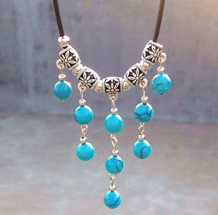 Vintage handgemaakte Tibetaanse zilveren turquoise edelsteen multilayer kwast hanger ketting sieraden 10st