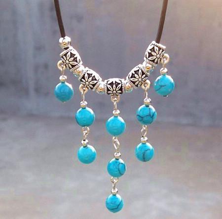 Vintage Handmade tibetischen Silber Türkis-Edelstein-mehrschichtige Troddel-Halskette Schmuck 10pcs
