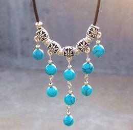 Wholesale Gemstone Tibetan Jewelry - Vintage Handmade Tibetan Silver Turquoise Gemstone multilayer Tassel Pendant Necklace Jewelry 10pcs