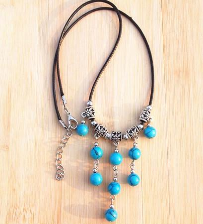 10pcs jóias artesanais tibetano Vintage Gemstone multicamadas pendente de colar Tassel turquesa prata