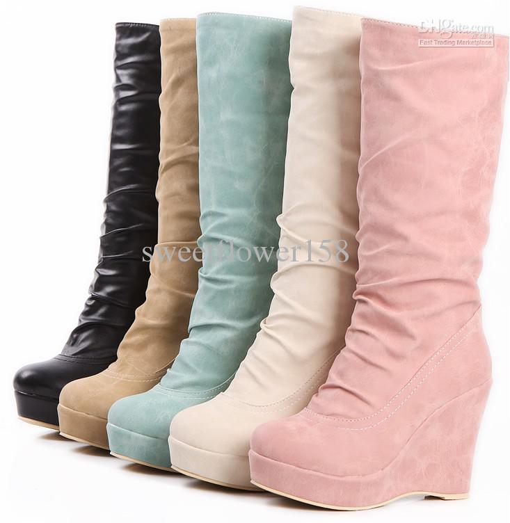 Ladies Fashion Boots Wedges High Heel Women's Half Pu Leather ...