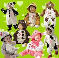 Wholesale Bodysuit Pyjamas - 16pcs Baby Animal rompers pyjamas jumpers toddler romper bodysuit sleepwear jumpsuit
