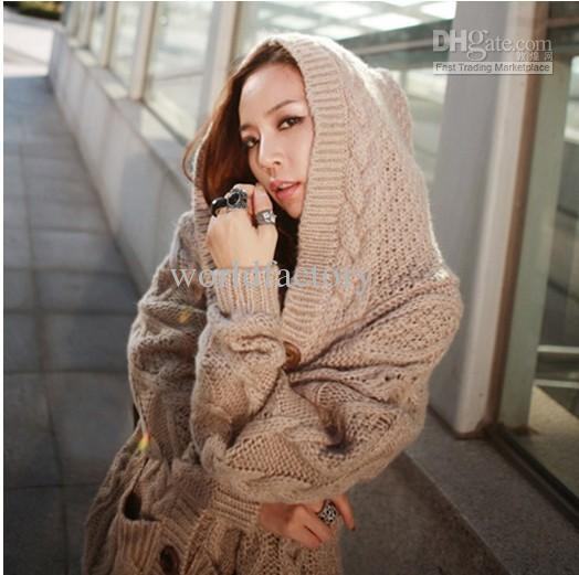 Women Ladies Single Breasted Hooded Sweater Sweaters Thick Coat ...