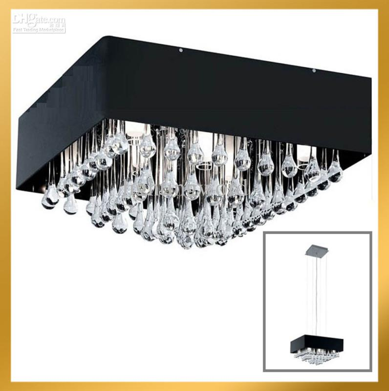New contemporary clear drip square crystal chandelier light pendant new contemporary clear drip square crystal chandelier light pendant lamp ceiling black shade modern chandelier candle chandelier from lightingword aloadofball Images