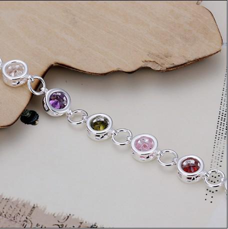 Nagelneue hohe Qualität 925 silberne Einlegearbeitzirconfarbkristallcharmearmband-Art und Weiseschmucksachen