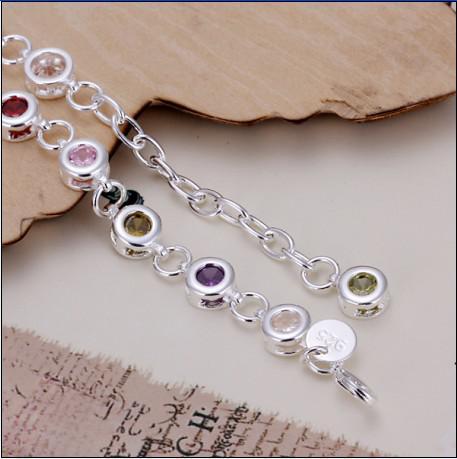 Helt ny högkvalitativ 925 silver inlay zircon färg kristall charm armband mode fina smycken