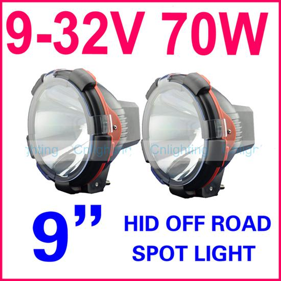 """PAIR 9"""" inch 70W 75W POWER HID Xenon Driving Light SUV ATV Off-Road 4WD 9-32V Spot Beam 3200lm"""