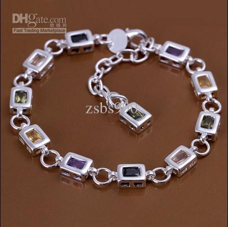 Alta qualidade 925 prata inlay zircão pulseira de cristal charme bonito moda jóias frete grátis