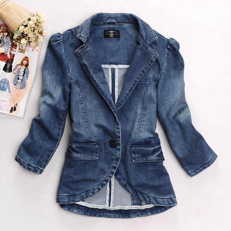 2012 New Women Suit Blazer Suit Jacket Long Sleeve Denim Coat ...