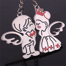 "Wholesale Couple Keychain Kiss - 50pcs=25PR lot Alloy ""Kiss angel"" Couple Lover Key ring Keychain Valentine's day gift Christmas gift"