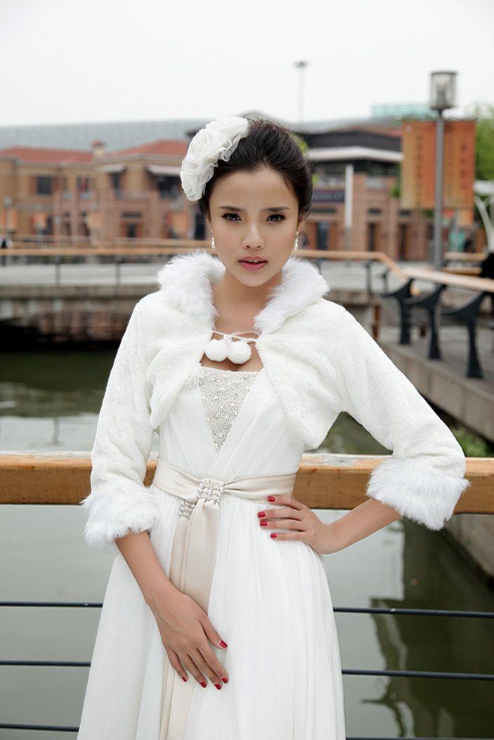 Lovely White Winter Elbow Sleeve Velvet Bridal Lacing Bolero Jacket Wedding Dress
