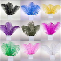 Wholesale Natural Dyed Feather - 100pcs lot 6-8'' natural dyed Ostrich Feather Plume centerpiece accessories wedding party stage dance performance decoration