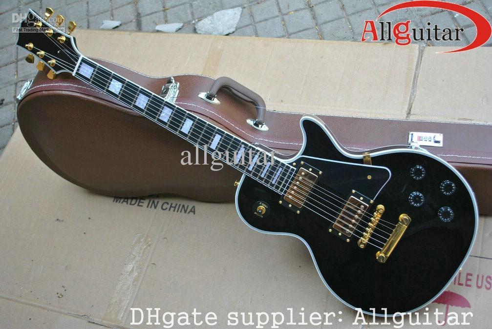 black custom shop 1958 ebony fingerboard electric guitar gold hardware Chinese China guitar