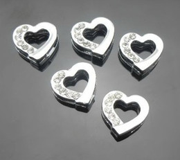 Wholesale Diy 8mm Jewelry Slide Letters - 100pcs lot 8mm half rhinestones silver heart slide charms fit for 8mm diy leather wristband bracelet DIY Jewelry findings