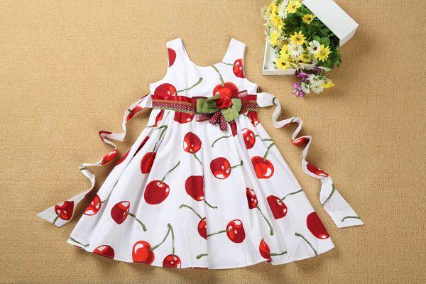 Sweety cherry print Dress 100% Cotton comfortable Children Skirt round neck sleeveless Summer Dress