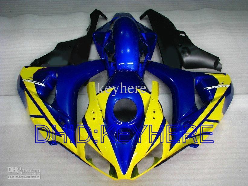 2006 년형 2007 년 혼다 CBR1000RR CBR 1000 RR 1000RR CBR1000 06 07 용 옐로우 블루 사출 페어링 키트