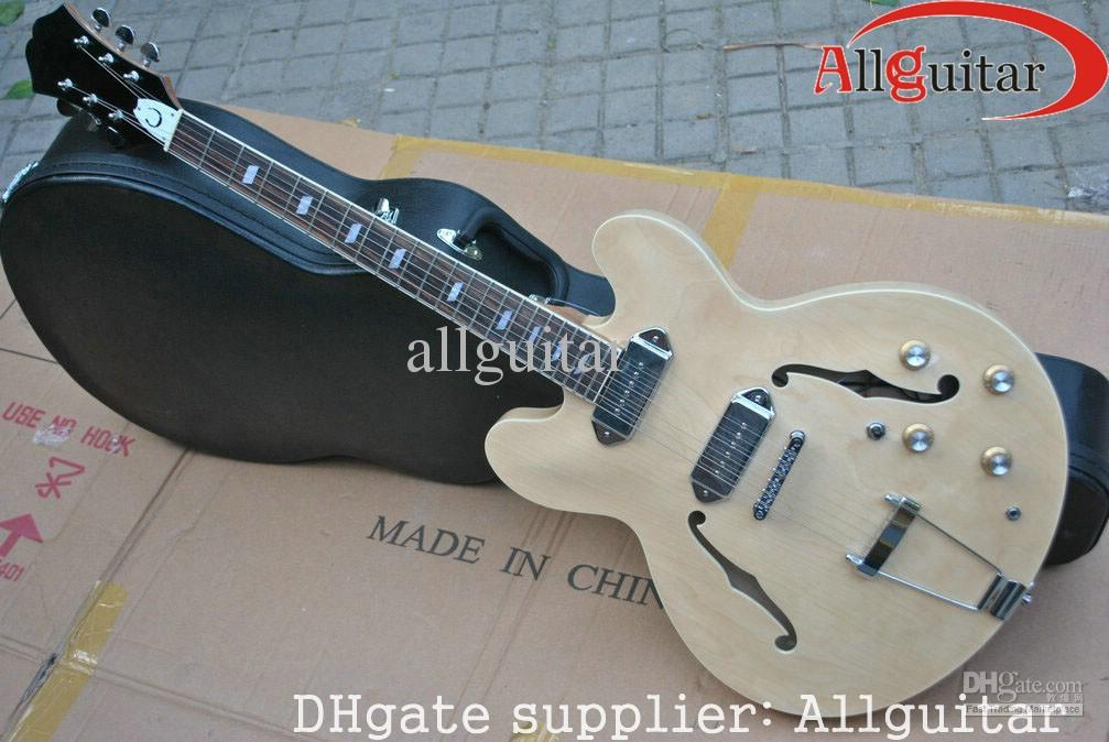hot sale jazz hollow natural electric guitar chinese guitar in stock electric guitar and amp. Black Bedroom Furniture Sets. Home Design Ideas