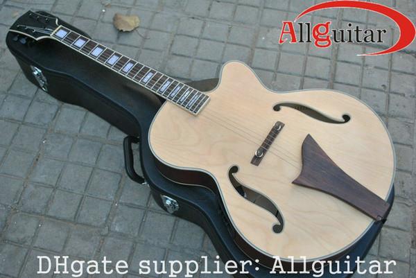 Guitarra semi oca do jazz natural com captadores de EQ guitarra elétrica acústica Guitarra chinesa