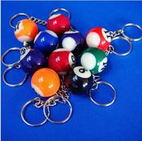 Wholesale Mini Snooker - Mini Ball Pool Billiards Snooker Table Ball Keychain Best Gift