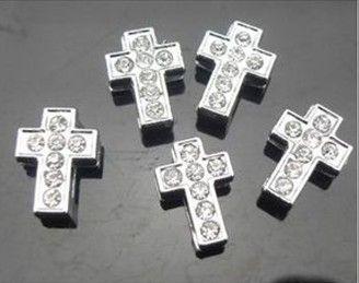 Высокое качество 100 шт. / Лот 8 мм полные стразы крест слайд подвески подходят для 8 мм DIY аксессуары браслет браслет