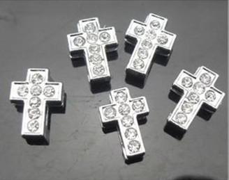 Alta qualidade 100 pçs / lote 8mm strass completo cross slide encantos apto para 8mm DIY Acessórios pulseira pulseira