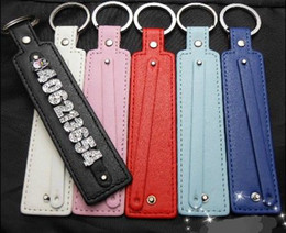 Key Chains For Slide Charms Canada - 50pcs PU leather Key chain fit for 8mm side letters and slide charms