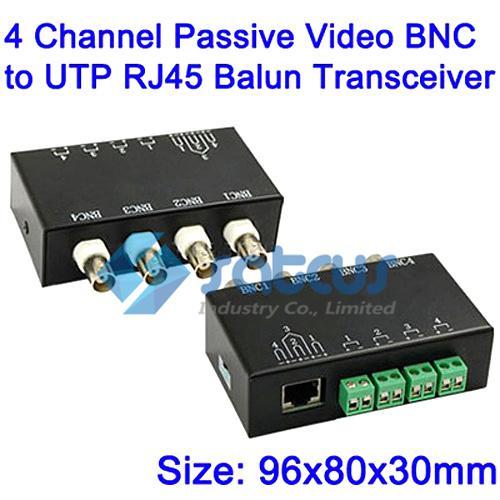 Vídeo BNC video passivo do canal de Balun 4 ao transceptor do Balun de UTP RJ45