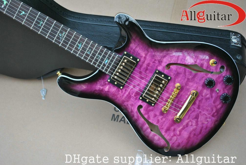 nueva llegada custom 22 Hollow guitarra eléctrica púrpura guitarra china