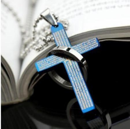 新着!!チタンステンレス鋼の聖書のクロスペンダントネックレスファッション男性女性ジュエリーミックス色在庫24ピース