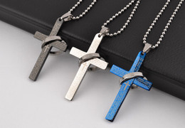 Wholesale Cross Jewelry Color - New!! Titanium stainless steel bible cross Pendant Necklaces Fashion Men women Jewelry Mix color in stock 24pcs