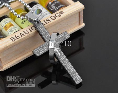 Nouveau!! bible en acier inoxydable titane Colliers Pendentif croix Mode Hommes femmes Bijoux couleur Mix en stock