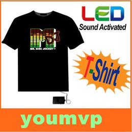 Wholesale T Shirts Led Dj - LED T-Shirt Sound Activated M DJ Shape LED Light T Shirt Shirts EL Equalizer T-Shirt Hot Selling