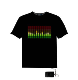 Wholesale Men Party Shirts - Christams Flashing T Shirt Light Up Down Music Party Equalizer LED T-Shirt Various Styles Dancing LED T-shirt