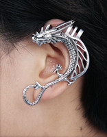 Wholesale Wholesale Unique Ear Cuffs - Newest Ear Cuff Unique Style With Horn Dragon Ear Clip for Punk People 24pcs lot Free Shipping