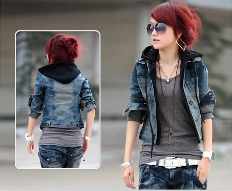 Casual Women Jean Jacket Spring/Autumn Hat Single Breasted ...