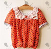 Wholesale Cute Kinds - Kinds Lace Doll Cute Wave Point Shirt Collar Chiffon Shirts