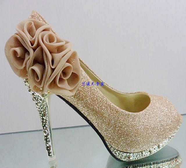 Cheap Gold Bridal Shoes