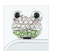 Wholesale Dust Frog - Gold and silver Colors frog crystal ear cap dock dust plug for Phone LM-P024