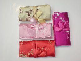 Wholesale Silk Travel Jewelry Rolls - Travel Jewelry Rolls Bag Storage Silk Plum Folding Zipper Rope 10pcs lot mix color Free