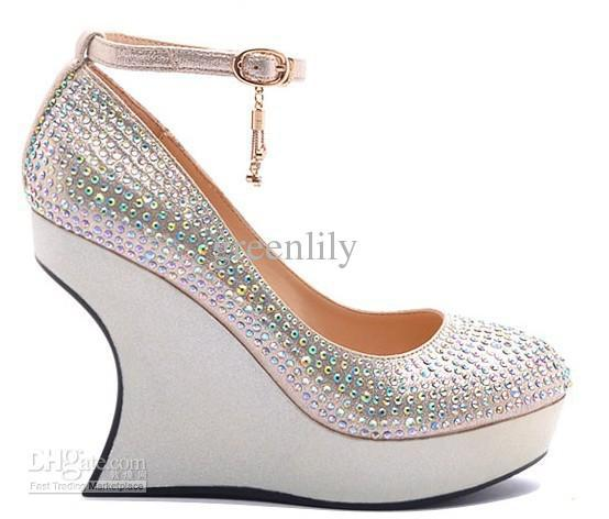 2012 Autumn Wedding Shoes For Bride Wedge Heel With