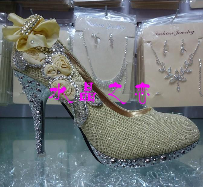 Newest Princess Bridal Flower High Heeled Shoes Womens