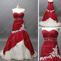 Wholesale Taffeta Mermaid Wine - Wine Red and White Bridal Wedding Dress Sweetheart Mermaid Beaded Taffeta Lace Accent Court Train Real DB14