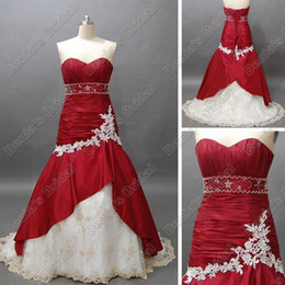 Wholesale silver wine red wedding - Wine Red and White Bridal Wedding Dress Sweetheart Mermaid Beaded Taffeta Lace Accent Court Train Real DB14