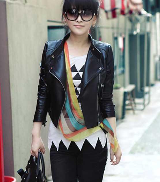 sexy black leather jacket