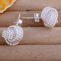 Wholesale Weave Earrings - E013 Free Shipping 925 Silver Pretty Women's Weave Knot Ball Earrings , High Quality 100% Brand New