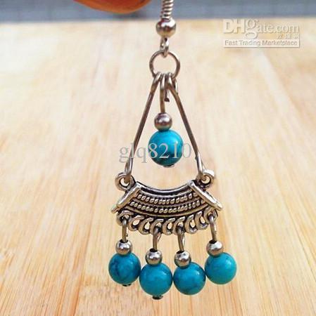 핫 빈티지 수제 티베트어 실버 터키석 구슬은 펜던트 귀걸이 세련된 여성 XMS를의 술 선물 / 많은