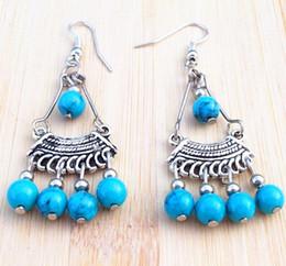 Wholesale Blue Copper Turquoise Earrings - Hot Vintage Handmade Tibetan Silver turquoise beads tassel Pendant Earring Stylish Women xms gift 20pair lot
