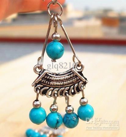 Hot contas de turquesa de prata tibetana Handmade Vintage borla pendente Brinco Mulheres elegantes XMS presente /