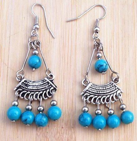Hot vintage handgjorda tibetanska silver turkos pärlor tofs pendant örhänge stiliga kvinnor xms gåva / mycket