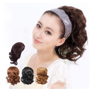 Wholesale 1 piece lot new arrival bride's hair accessories synthetic hair chignons short curl ponytails 4colors